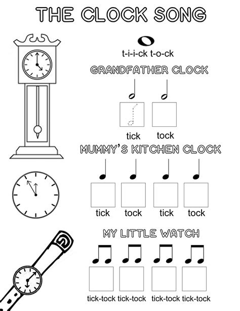 printable music lesson plans world music the clock song an easy way to learn musical note values