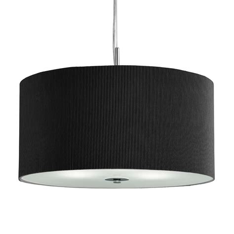 2353 40bk 3 Light Black Drum Pendant Frosted Glass Diffuser Pendant Light With Diffuser