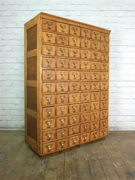 library card file cabinet vintage industrial oak library shop filing cabinet index