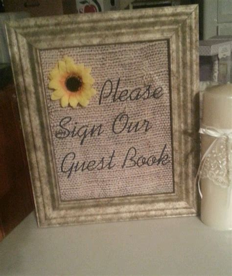 burlap wedding vintage sunflower decor sign our guestbook