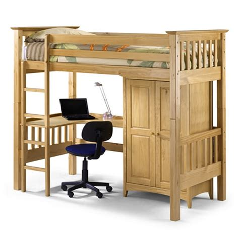 pine high sleeper childrens bed frame with wardrobe and desk