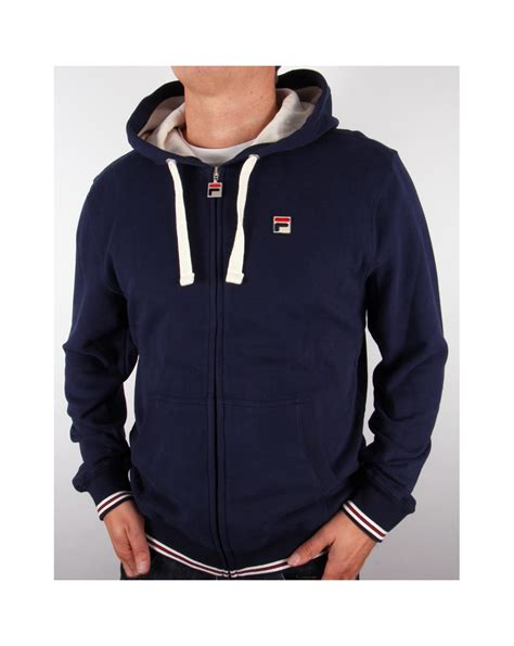 fila vintage merlo fz hoody navy hoody mens zip hooded track top navy blue