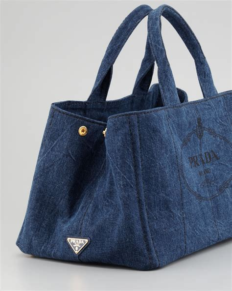 Denim Bag lyst prada denim small gardeners tote bag in blue