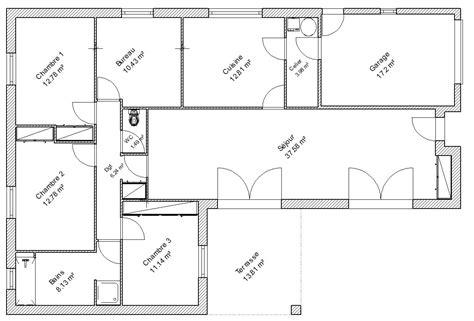 plan maison bois plain pied 4 chambres plan de maison simple 4 chambres