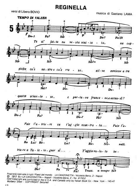 tarantella napoletana testo reginella canzone napoletana