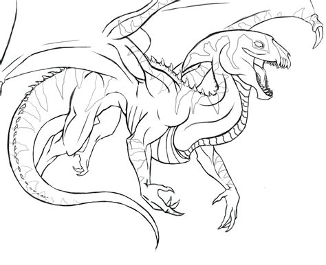 flying lizard coloring page outline flying reptile by katrinetindlund on deviantart