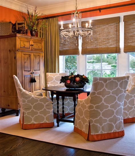 bright  fit slipcovers  dining room traditional