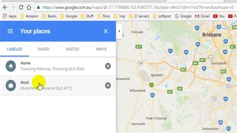 how to change home and work address in maps