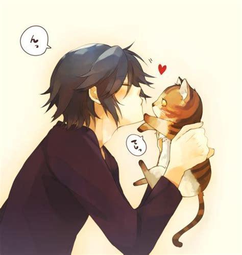 Boy Cutie Cat garoto anime beijando gatinho fofo animes e mang 225 s