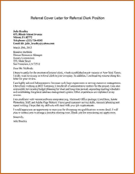 Referral Cover Letters 10 how to write a letter for a position lease template