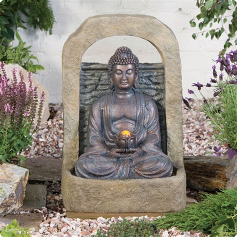 buddha  lotus flower water feature  lights