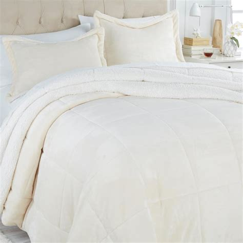 fleece comforter queen soft cozy reversible white sherpa fleece fur comforter