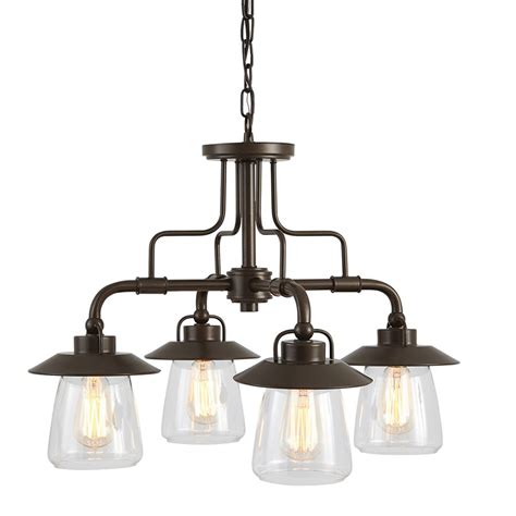 Shop Allen Roth Bristow 4 Light Specialty Bronze Kitchen Chandeliers Lighting