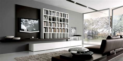 Grey And Brown Interior Design by Built Ins Furniture For Contemporar Living Room Idea By