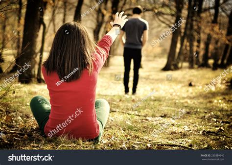 wallpaper break couple young couple breaking up girl shouting out for boy stock