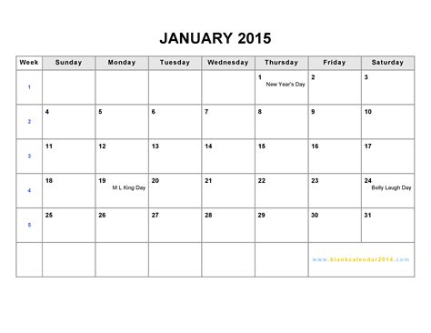 printable month calendar january 2015 8 best images of calendar 2015 printable blank chart