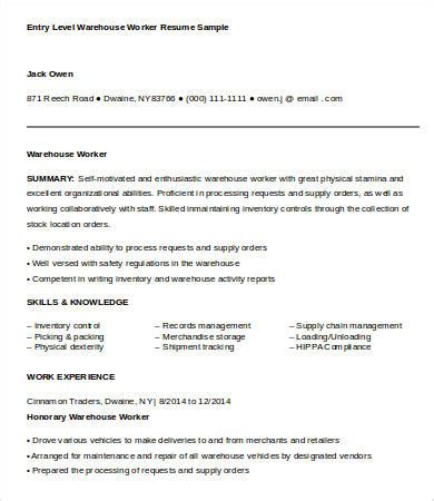 duties of a warehouse worker for resume free resumes tips