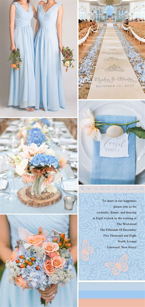 colour themes peach seven perfect blue wedding color ideas and bridesmaid