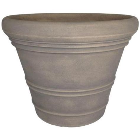 Planters At Home Depot by Planters 24 In Dove Gray Resin Ancona Planter An24delg The Home Depot