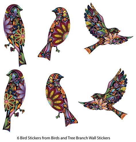 Chandeliers And Mirrors Online Bird Stickers In Lovely Flower Pattern Set Of 6 Bird