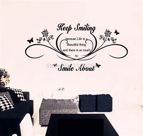 lettering stickers for walls keep smiling wall quotes removable wall stickers lettering vinyl decal mural decor large
