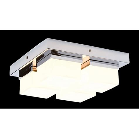 modern chrome bathroom ceiling light 4 light flush square - Contemporary Bathroom Ceiling Lights