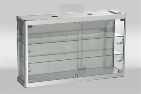 aluminium glass wall mounted display cabinet 800mm w x
