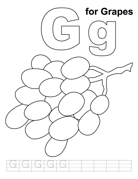 coloring pages for grapes g for grapes coloring page with handwriting practice