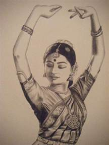 pencil sketch of a bharatanatyam dancer dance