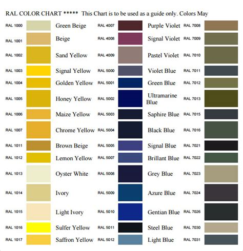 color conversion 10 sle ral color chart templates to sle