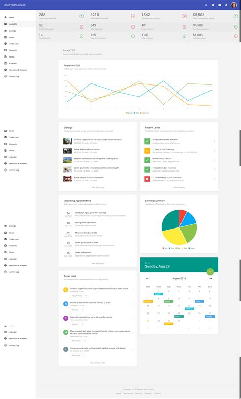 Roost Material Design Real Estate Dashboard Materialup Real Estate Dashboard Templates