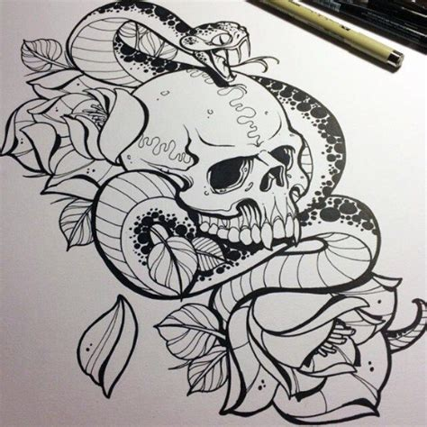 snake and skull tattoo designs snake drawing www imgkid the image kid