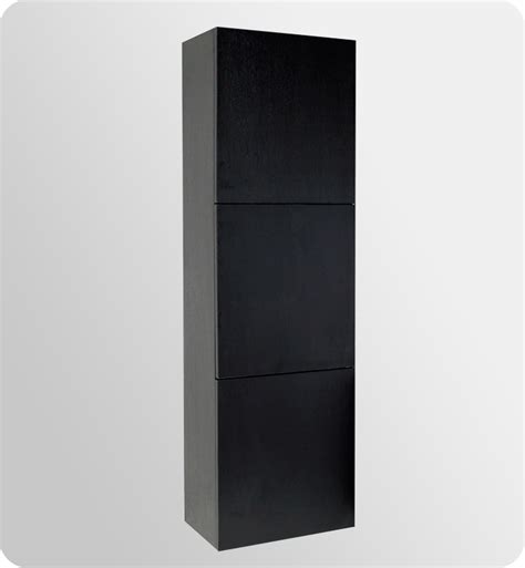 Black Bathroom Cabinets And Storage Units 17 75 Quot Fresca Fst8090bw Black Bathroom Linen Cabinet W 3 Large Storage Areas Side Cabinets