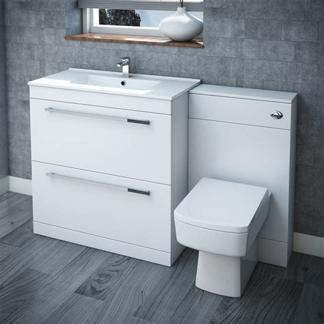 Furniture Bathroom Suites High Gloss White Vanity Bathroom Suite W1300 X D400 200mm At Plumbing Uk