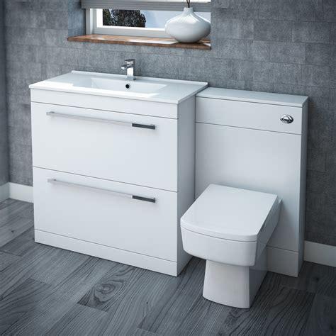 Nova High Gloss White Vanity Bathroom Suite   W1300 x D400