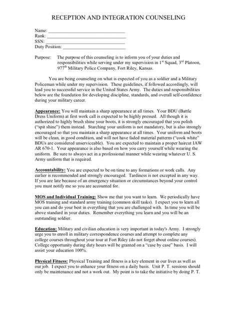 initial counseling template initial counseling exle not on 4856