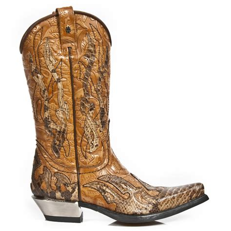 snakeskin cowboy boots for new rock m 7921b c2 custom brown faux snakeskin cowboy