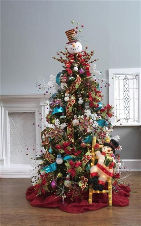 christmas tree decorated with snowmen decorated trees dazzling tree decoration ideas