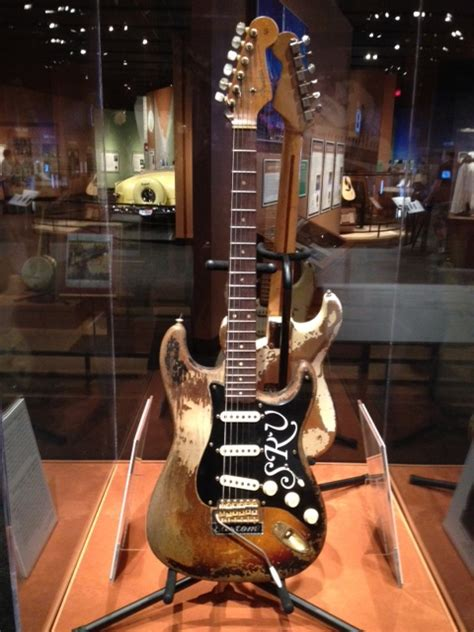 stevie ray vaughan number  guitar  display  texas state museum guitar interactive