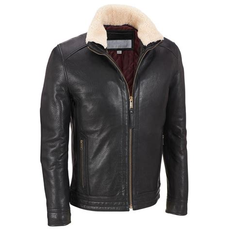 fleece collared jacket mens black leather jacket fleece collar leather