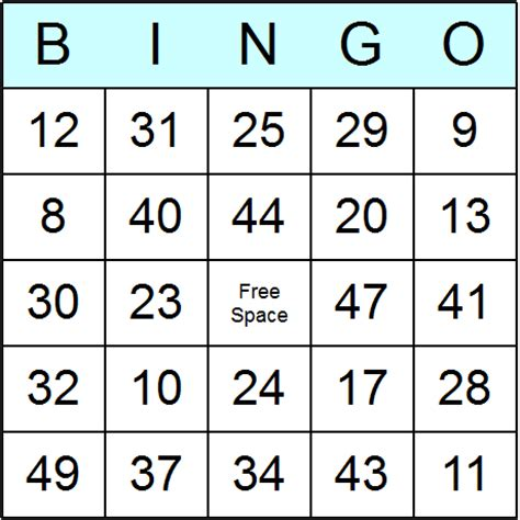 bingo card template with numbers clipsgames
