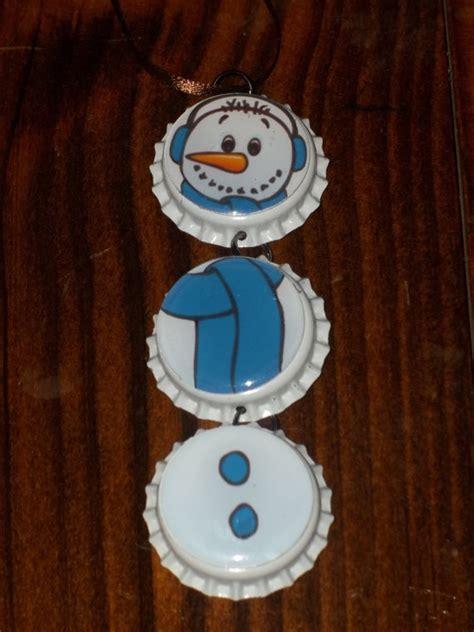 christmas snowman bottle cap ornament arts and crafts