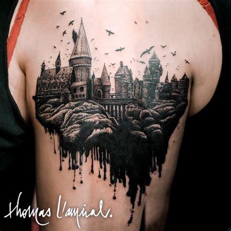 hogwarts castle tattoo harry potter tattoos birds and hogwarts on