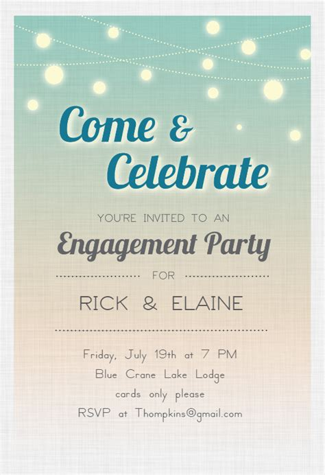 celebrate engagement engagement party invitation template   island