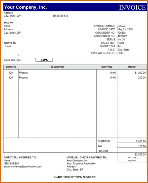 template ms office invoice template
