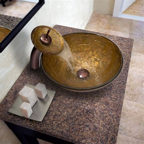 Vessel Sink Faucet Placement by Vigo Textured Copper Glass Vessel Sink And Waterfall