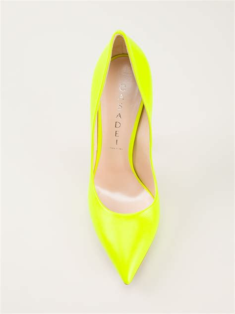 Color Panel High Heel Pumps casadei high heel pumps in yellow lyst