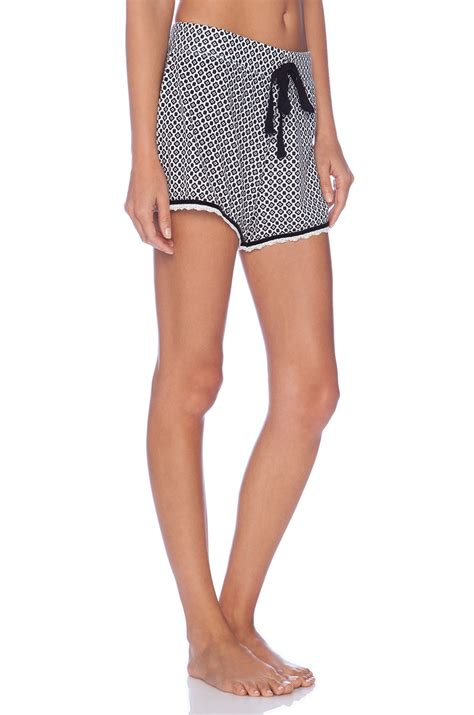 Set Top Shorts Black White 18646 1 michael top and shorts pajama set in white lyst