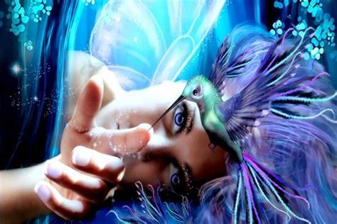 imagenes de criaturas mitologicas para fondo de pantalla postal hada de la primavera inyectando magia a un colibr 237