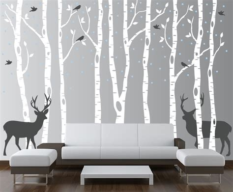 vinyl tree wall decals for nursery birch tree wall decal forest with birds and deer vinyl